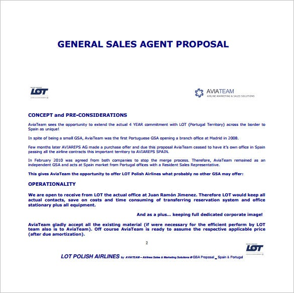 Sales Proposal Template   Free Sample Example Format
