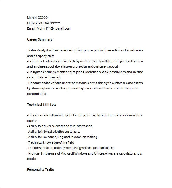 sales analyst resume example