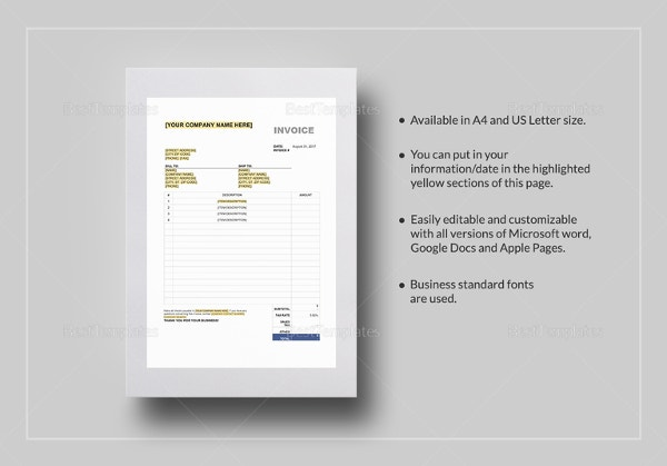 Car Invoice Templates Free Word Excel PDF Format Download - Invoice template for microsoft word online wig store