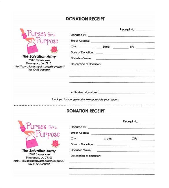 Salvation Army Donation Receipt Format Download