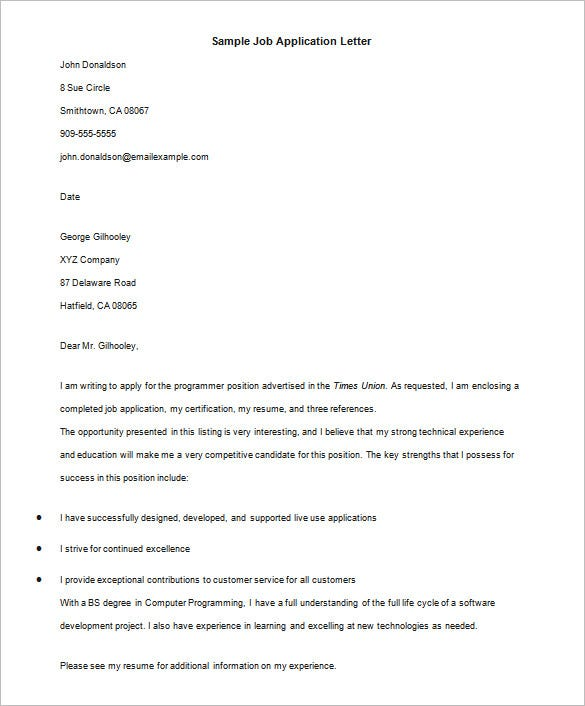 Sample Application Letter Template With Email Support