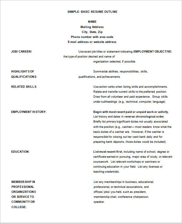 Good Sample Basic Resume Outline Template  Outline Of A Resume