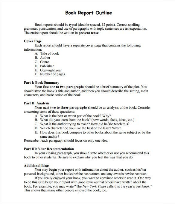 Report Outline Template 10 Free Sample Example Format – Sample Book Summary Template