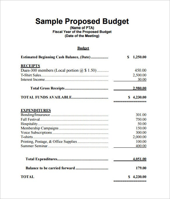 Proposed Budget Template  Business Funding Proposal Template