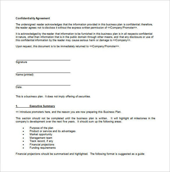 sample business format template