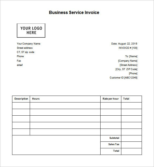 Business Receipt Template Free Sample Example Format - Invoice sample template for service business