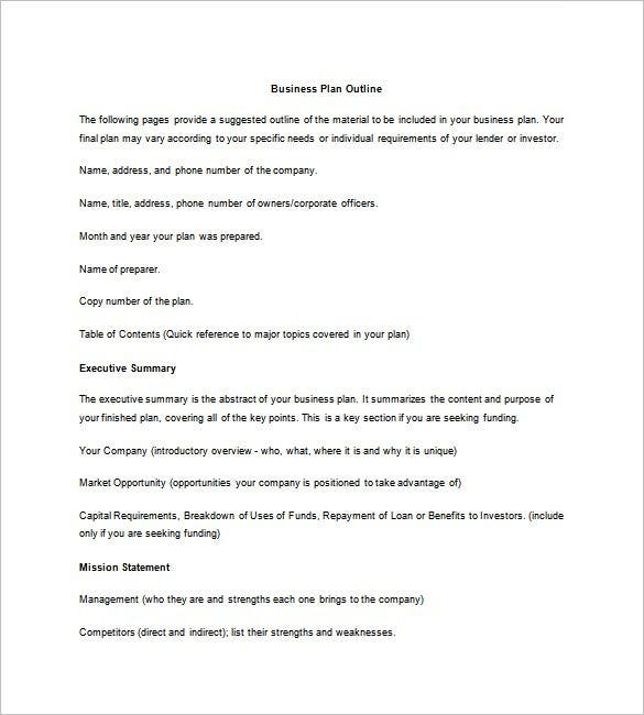 Exceptional Sample Business Plan Outline Template Free Download