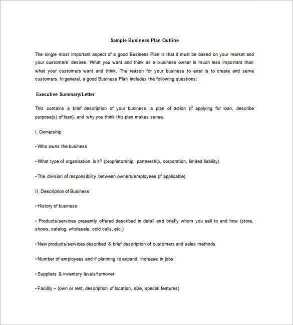 Business Plan Outline Template Free Sample Example Format - Business plan outline template