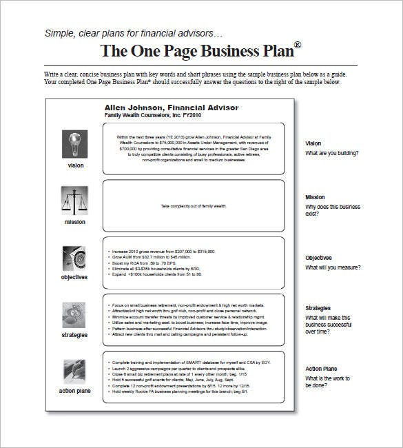 sample one page business plan
