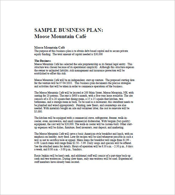 sample café business plan template