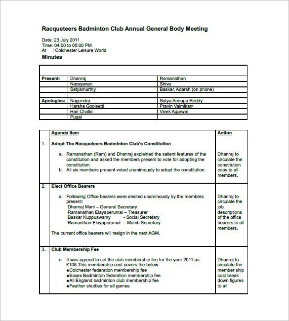 Club Meeting Minutes Template 6 Free Sample Example Format – Free Sample Minutes of Meeting Template