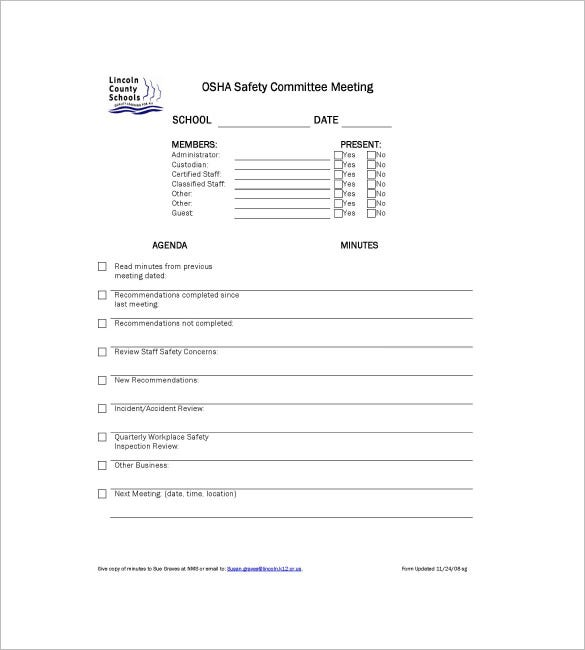 Sample Committee Meeting Minutes Templates  Free Sample Minutes Of Meeting Template