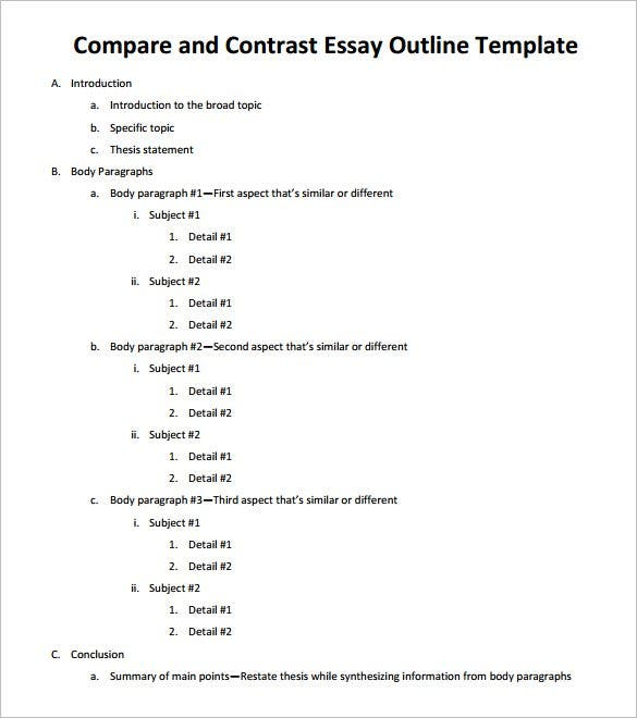 sample compare and contrast essay outline pdf download