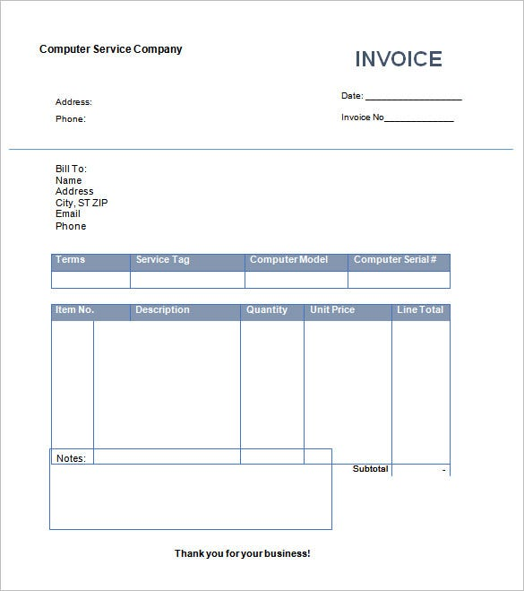 Invoice Template Free Word Excel PDF PSD Format Download - Free creative invoice template for service business