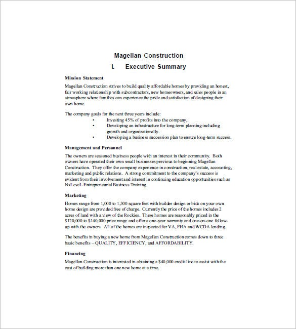 Sample Construction Business Plan Template