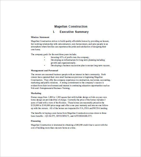 constructing a business plan