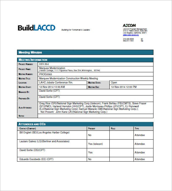 Construction Meeting Minutes Template 7 Free Sample Example – Meeting Minutes Templates Free