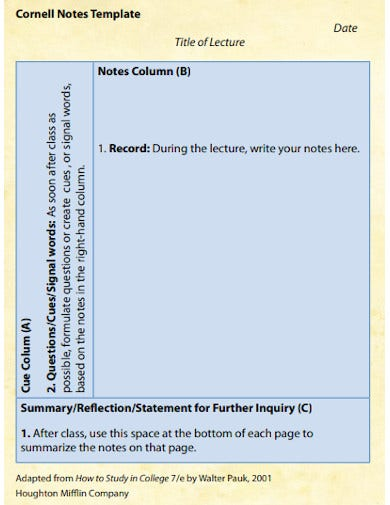 sample cornell notes template
