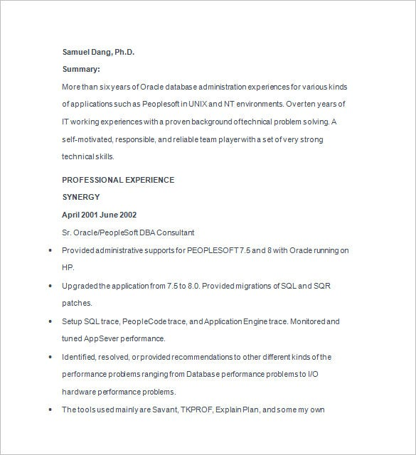 Database Administrator Resume Template - 15+ Free Samples