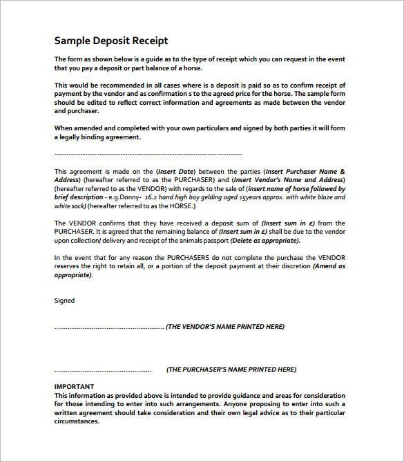 Deposit Receipt Template 13 Free Sample Example Format – Down Payment Receipt Form