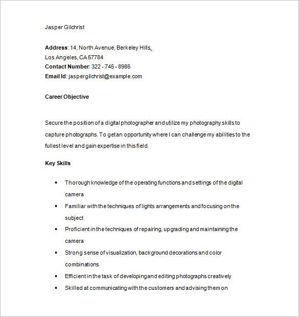 Sample Digital Photographer Resume Download