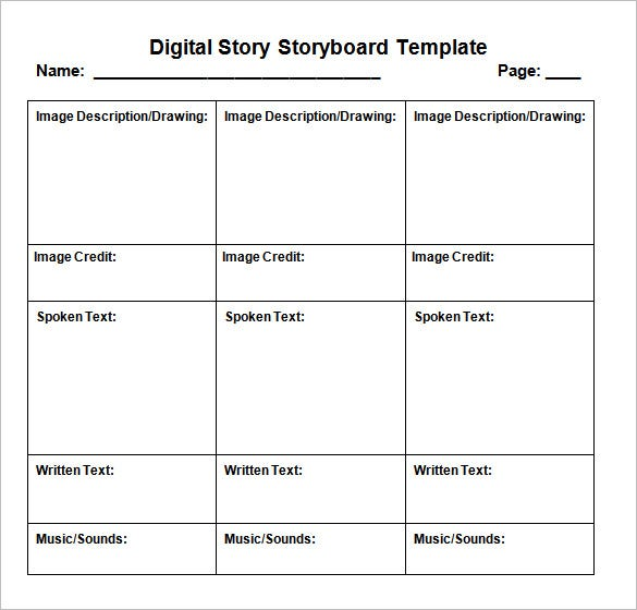 Digital Storyboard Template   Free Sample Example Format