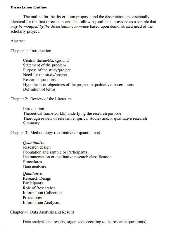 Dissertation Outline Template   Free Sample Example Format