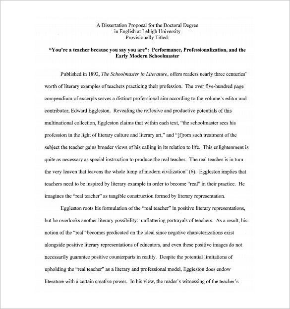 Dissertation Proposal Template   Free Sample Example Format