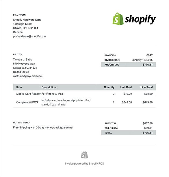 sample ecommerce invoice format download