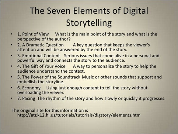 sample elements of digital storyboad telling powerpoint