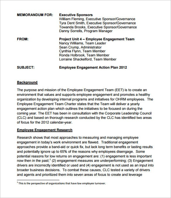 sample employee engagement action plan template
