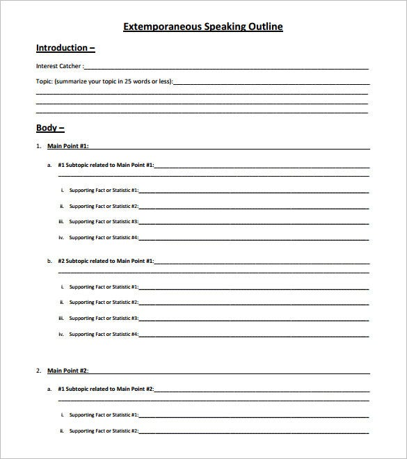 Speech Outline Template – 9+ Free Sample, Example, Format Download