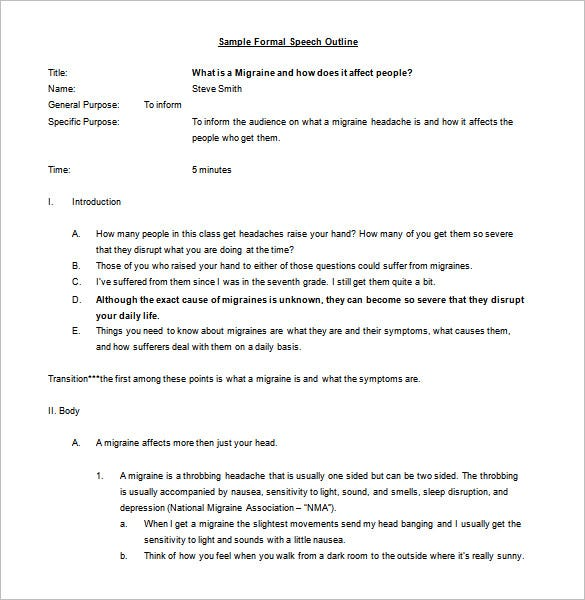 Speech Outline Template   Free Sample Example Format Download