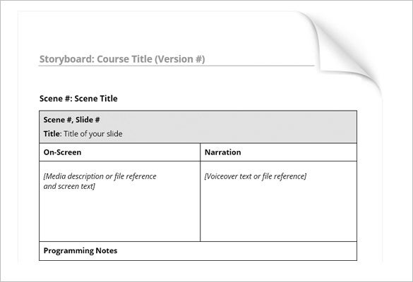 sample free simple storyboard template word format