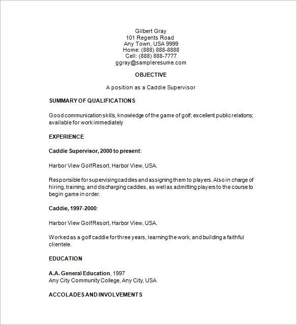 Assistant Golf Course Superintendent Resume Examples Professional Samples  Sample Caddie Supervisor Templates . Golf Professional Resume ...  College Golf Resume