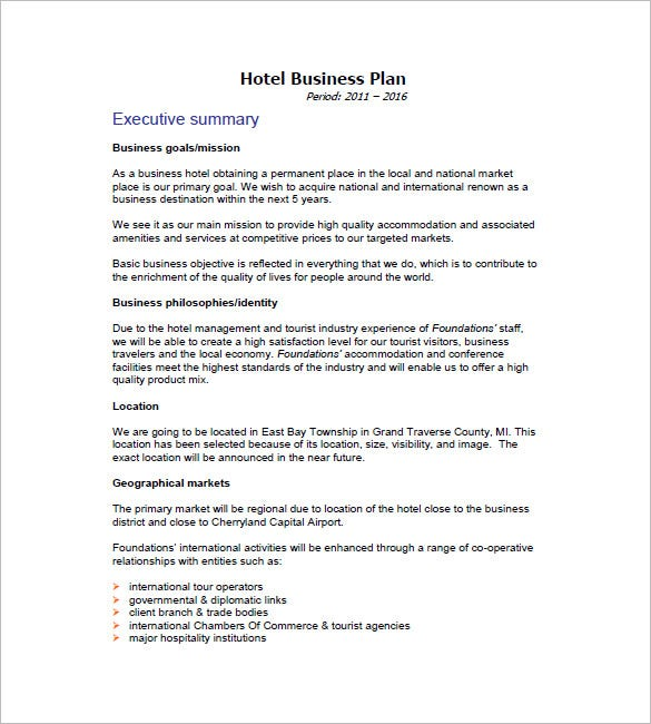 sample hotel business plan template