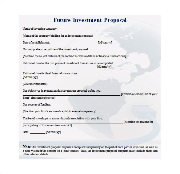 Investment Proposal Templates Free Sample Example Format