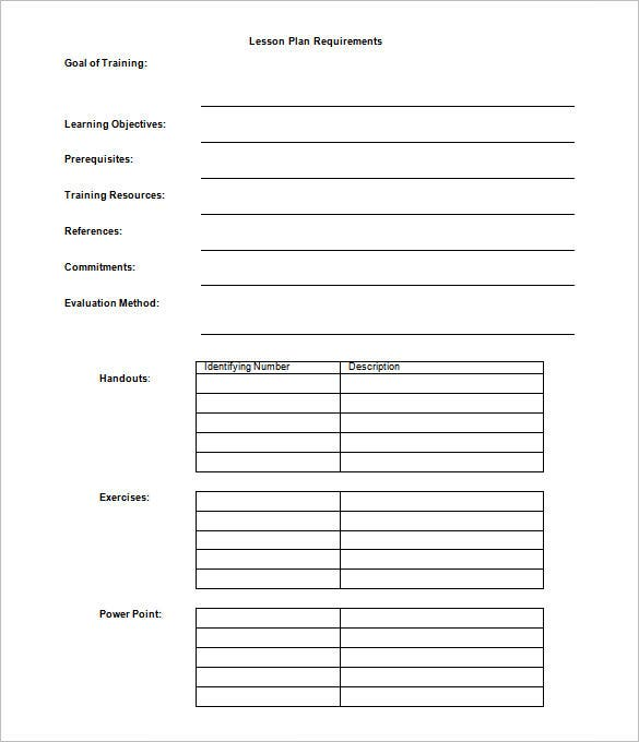 Lesson Plan Outline Template 12 Free Sample Example Format