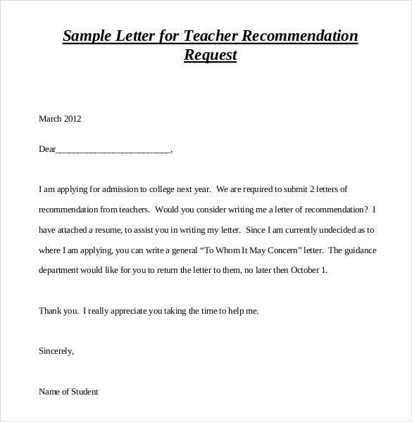 Letters Of Recommendation For Teacher   Free Sample Example