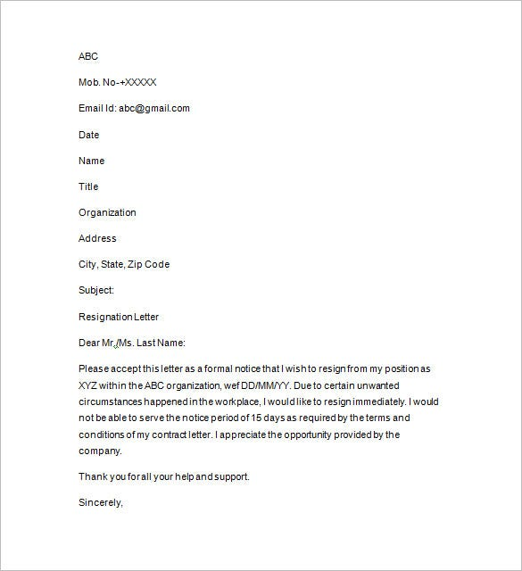 sample letter of resignation pdf download