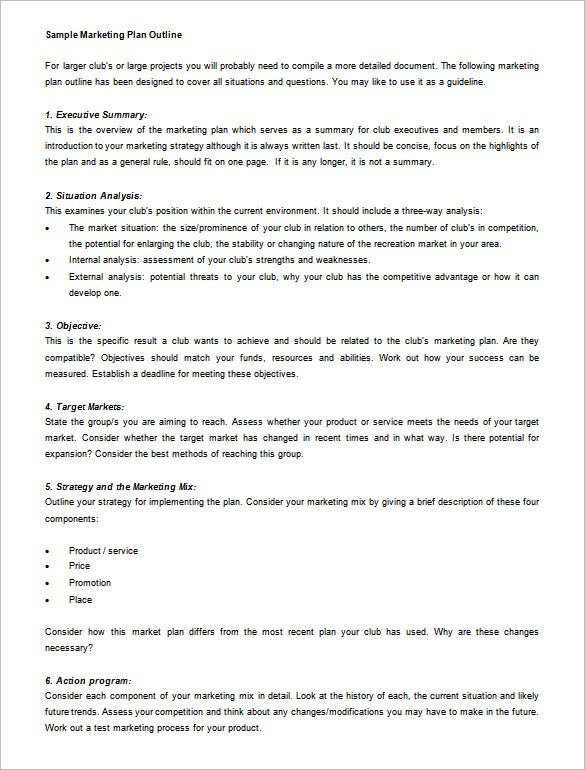 Marketing Plan Outline Template 13 Free Sample Example Format