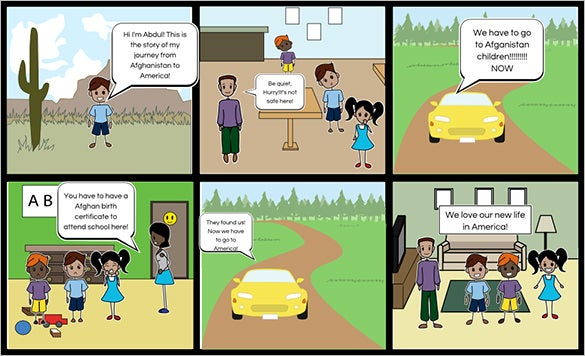 sample new kids in town storyboard template powerpoint download