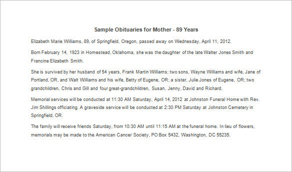 obituary template for mother 7 free word excel pdf format