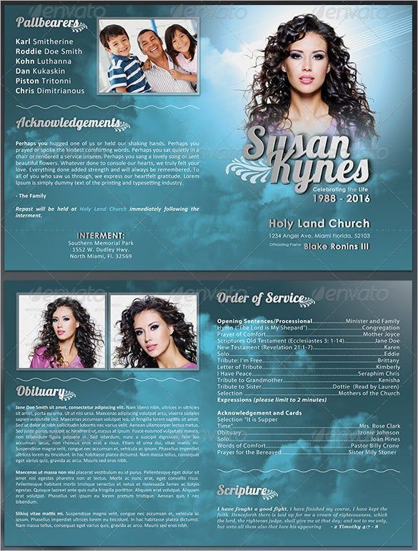 Sample Obituary Program Template For Celebrity  Free Obituary Program Template