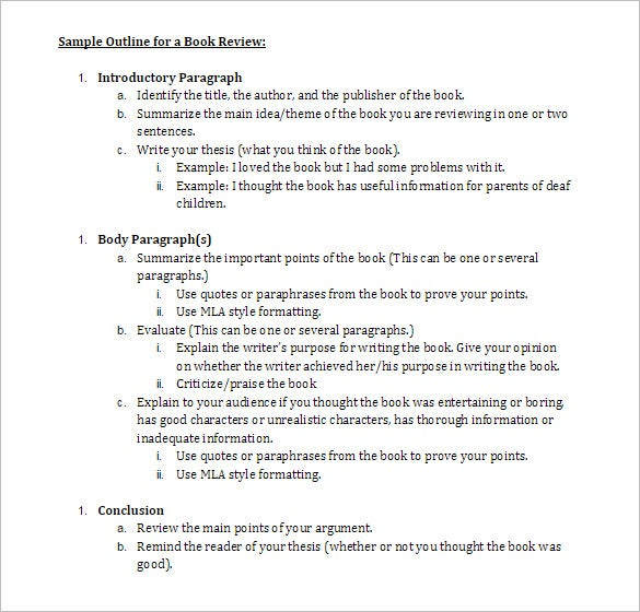 Book Review Examples Format