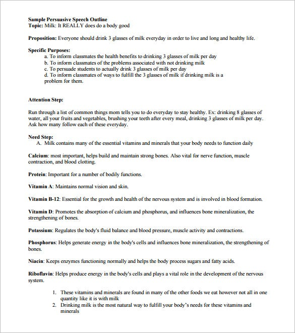 persuasive speech outline template 9 free sample example