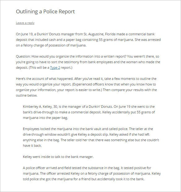 sample police report outline