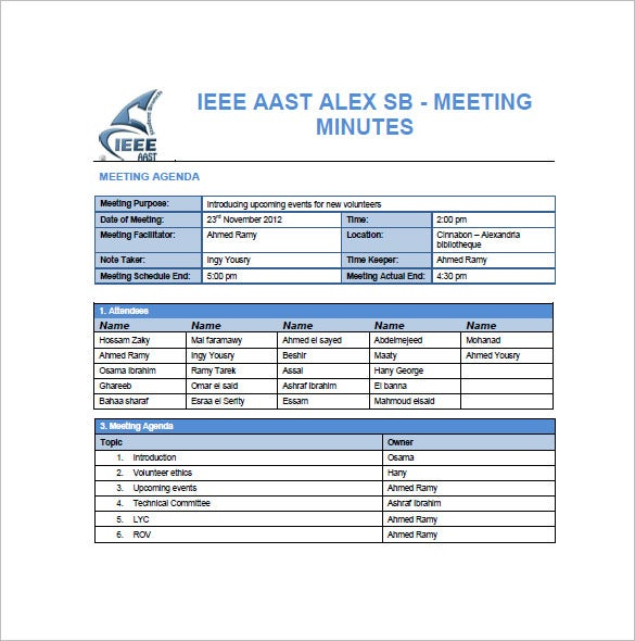 Sample Project Meeting Minutes Template  Free Sample Minutes Of Meeting Template