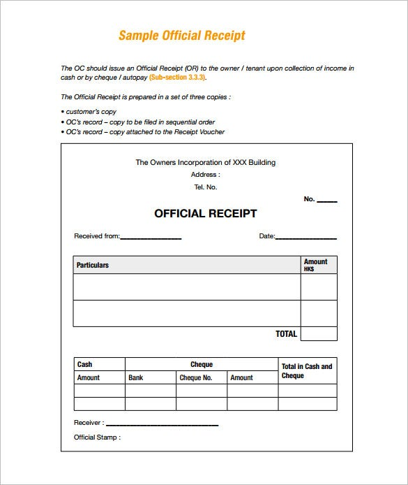 Receipt Template 90 Free Printable Word Excel PDF Format – Sample Official Receipt