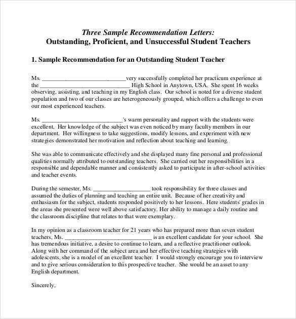 sample recommendation letter for outstanding student teacher